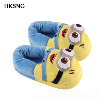 HKSNG Winter Animal Adult Minions Shark Panda Stitch Slippers Paw  Claw Indoor Floor Home Shoes Christmas Gift