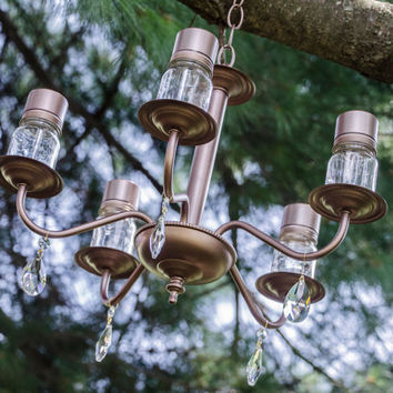 Virginia - Vintage garden solar chandelier with mini mason jar 'bulbs' for garden or wedding