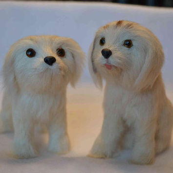 Set of 2 Real Fur Labrador Retrievers figures, dolls life-like collectibles vintage dogs puppies ivory Mother's day Anniversary Spring love