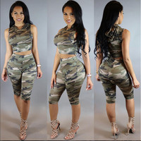 Camouflage Crop Top and Pants Set