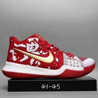NIKE Kyrie 3 Samurai Christmas Fashion Trending Leisure Running Sports Shoes Red G-DXT