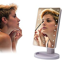 Makeup Light Mirror, Charminer 16 LEDs Touch Light Illuminated Cosmetic Desktop Vanity Mirror with Stand,Handy Touching On/Off White