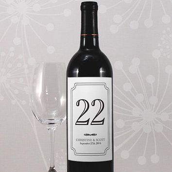 Classic Table Number Wine Label Numbers 13-24 Vintage Gold (Pack of 12)