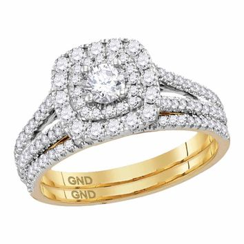 14kt Yellow Gold Womens Round Diamond Double Halo Bridal Wedding Engagement Ring Band Set 1.00 Cttw