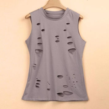 Punk Style Hole  Sleeveless T-shirt For Womens Casual O Neck T Shirts Loose Tee Tops Women camisetas mujer verano #419 BL