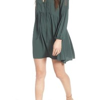 Lush Lace-Up Babydoll Dress | Nordstrom