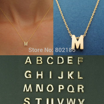 Gold Letter Personalized Charm Pendant Necklace Tiny Initial Delicate Minimalist Necklace Bridesmaid Everyday Gift