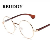 RBUDDY Gold Round Glasses frame Clear Lens Transparent Metal glasses elegant Vintage circle optical myopia computer glasses 2017
