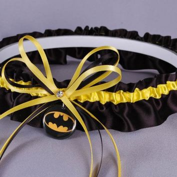 Batman Inspired Wedding Garter Set