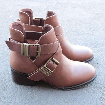 ONETOW cute double buckled cut out ankle boot with stacked heels (more colors) Day-First?