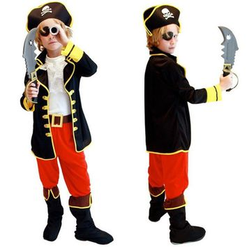 Halloween Costumes Kids Boys Pirate Costume Cosplay set for Children Christmas New Year Purim For Kids Children(no weapons)