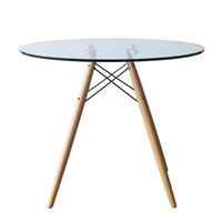 "WoodLeg Dining Table 48"", Clear"