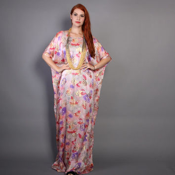 70s CAFTAN DRESS / Metallic Gold & Pastel Floral SILK Maxi