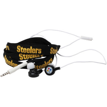 Pittsburgh Steelers Shoelace Earbuds - Black - http://www.shareasale.com/m-pr.cfm?merchantID=7124&userID=1042934&productID=546227229 / Pittsburgh Steelers