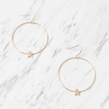 LA Hearts Star Hoop Earrings at PacSun.com - gold | PacSun