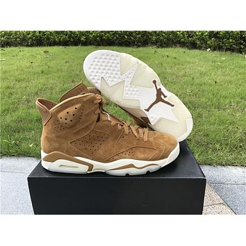 Air Jordan 6 Golden Harvest Men Basketball Shoes High Quality Sail Golden Harvest Wheat 384664-705 6s VI Ourdoor Sneakers With Box