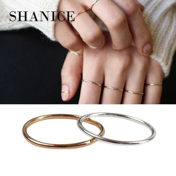 SHANICE Trendy 100% Real Pure 925 Sterling Silver Ring Fashion Simple Smooth Fine Ring Thin Little finger Ring For Women Jewelry