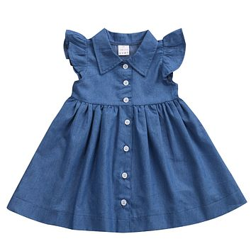 Kids Infant Baby Girls Dresses Casual Cute Sleeve Denim Princess Pageant Party Casual Tulle Tutu Dress Girl