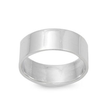 925 Sterling Silver Plain Cigar Band 7MM Ring