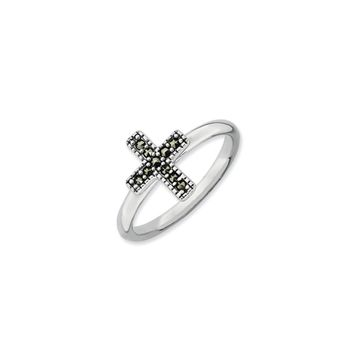 2.25mm Sterling Silver Stackable Marcasite Cross Ring