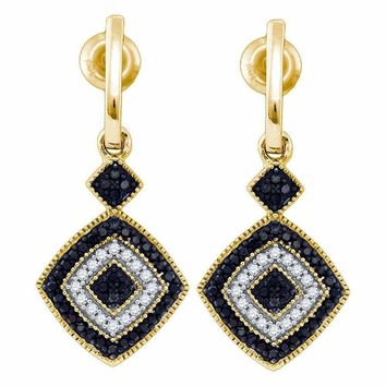 10kt Yellow Gold Women's Round Black Color Enhanced Diamond Concentric Square Dangle Earrings 1-3 Cttw - FREE Shipping (USA/CAN)