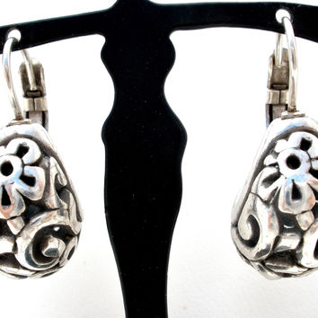 Sterling Silver Flower Hoop Earrings Vintage