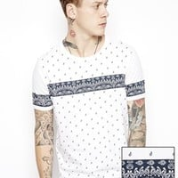 ASOS T-Shirt With All Over Paisley Print - White