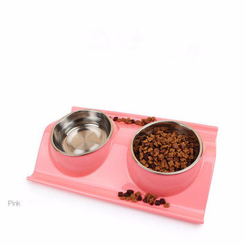 Set of 2 Stainless Steel Bowls with Non-Skid & No Spill Silicone Stand for Small Dogs, Cats, Puppy