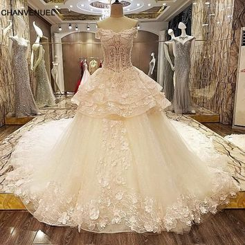 LS8543 Queen wedding dress 3D flowers lace sweetheart ball gown corset back wedding gowns 2017 robe de mariage real photos