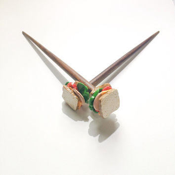 Sandwich Kawaii Hair Sticks Single OR Pair Bun