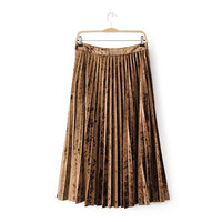 Simple Design Pleated Skirt [9857558863]