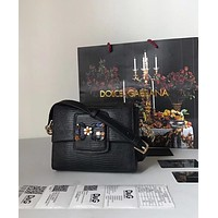 D&G DOLCE & GABBANA WOMEN'S LEATHER INCLINED SHOULDER BAG