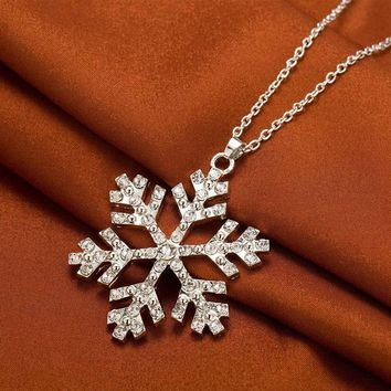 Tomtosh New Year Christmas Gift Fashion Luxury Shiny rhinestone Snowflake Necklace Pendants Chain long necklace jewelry women
