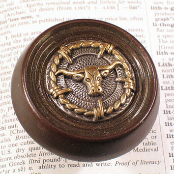 Vintage Upcycled Western Longhorn Door Knob - Antique Doorknob Hardware - D