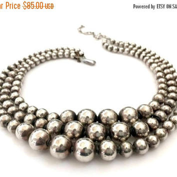 Taxco Three Strand Sterling Silver Beaded Necklace, Graduating Sterling Silver Beads, Handcrafted, Bench Beads, Vintage, Hallmark