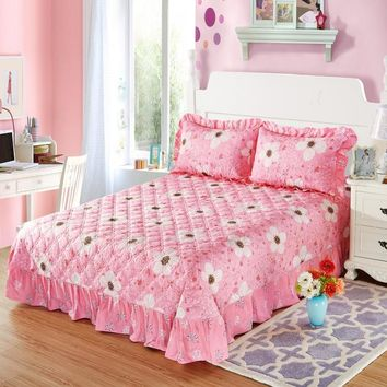 Flower Power Ruffled Luxury Quilted Bedspread