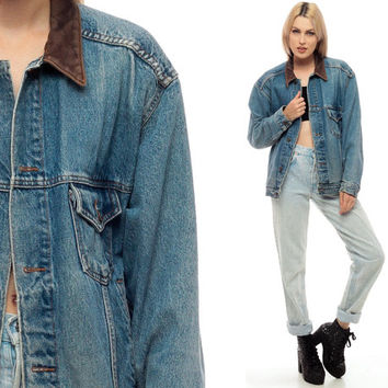80s Denim Jacket LEATHER COLLAR Jean Jacket FADED Retro Biker Oversize 1980s Vintage Hipster Women Men Blue Brown Coat Classic Small Medium