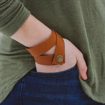 Repurposed Leather Wide Wrap Bracelet with Snap Closure