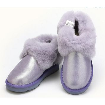 """UGG"" Popular Women Men Winter Four-Leaf Fur Snow Boots Warm Anti-Skid Short Boots Purple"