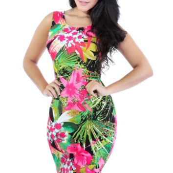 Tropical Floral Bodycon Knee Length Midi Dress