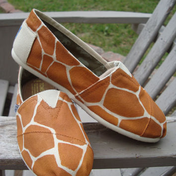 Giraffe Toms (print-hand painted on TOMS shoes-made to order)