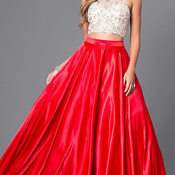 Two-Piece Long Satin Prom Dress with Jeweled Bodice