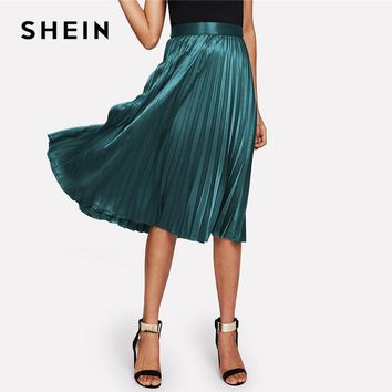SHEIN Zip Closure Pleated Satin Skirt Green Mid Waist Women Clothing Plain Party Skirt 2018 Spring Casual Full Length Skirt