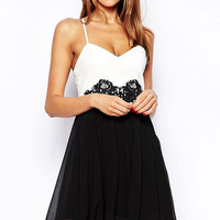 Black and White Cross Strappy Back Lace Embroidered Waist  Mini Skater Dress
