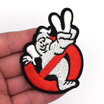 2Pcs Ghostbuster Movie Embroidered Uniform Logo Patch 3D Tactical Patch Cloth Morale Armband Army Combat Hook And Loops Badge