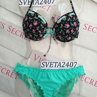 New Sexy Victoria's Secret Floral Fabulous Push Up Bikini Set 36D L M Cheekini