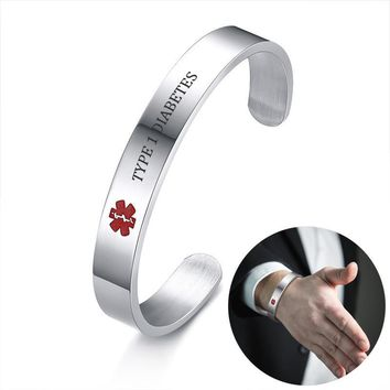 Medical Alert Message Engraved Cuff ID Bracelet for Men Women Stainless Steel TYPE 1 DIABETES ALLERGY Bangle Brackelts Brazalet