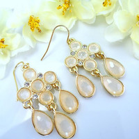 Peach chandelier gold earrings, Nude chandelier gold earrings, peach drop dangle chandelier earrings