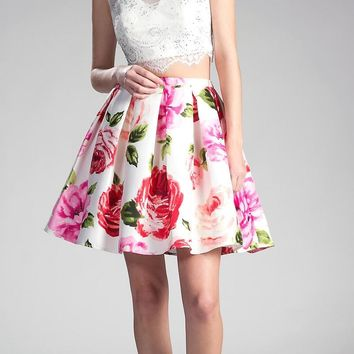 White Cap Sleeved Two-Piece Homecoming Dress
