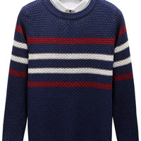 Stripe Pattern Knitted Pullover Sweater